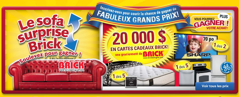 Concours brick le sofa surprise brick smart canucks for Brick meuble francais