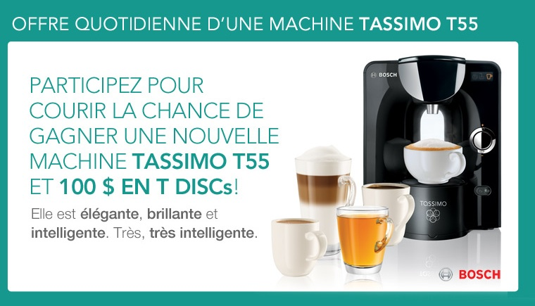 tassimo canada concours offre quotidienne d une. Black Bedroom Furniture Sets. Home Design Ideas