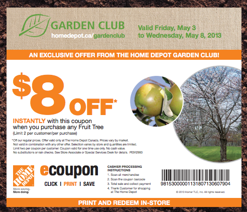 Club de jardinage home depot rabais de 8 l achat d un arbre fruitier smart canucks fran ais - Coupon de reduction office depot ...