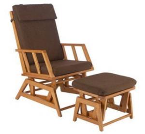 La chaise ber ante et ottoman miel chocolat for Chaise berceuse